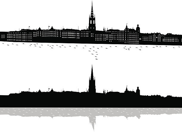 bildbanksillustrationer, clip art samt tecknat material och ikoner med black and white print of stockholm - stockholm