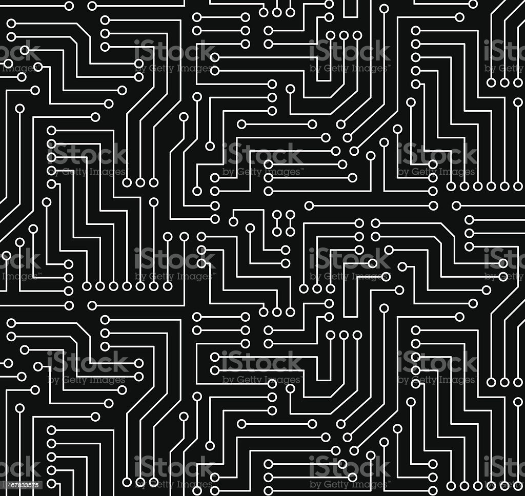 Black And White Printed Circuit Board Stock Vector Art More Images Wiring Design Royalty Free