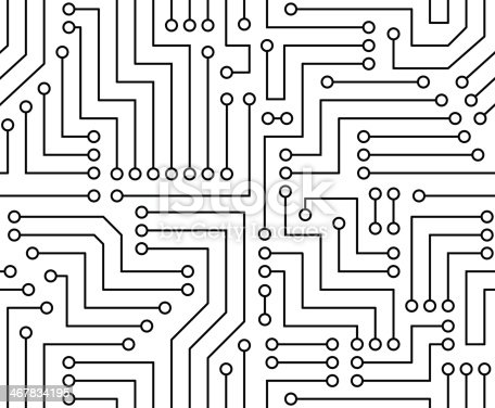 black and white printed circuit board stock vector art