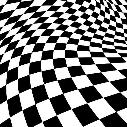 Black And White Psychedelic Checked Background