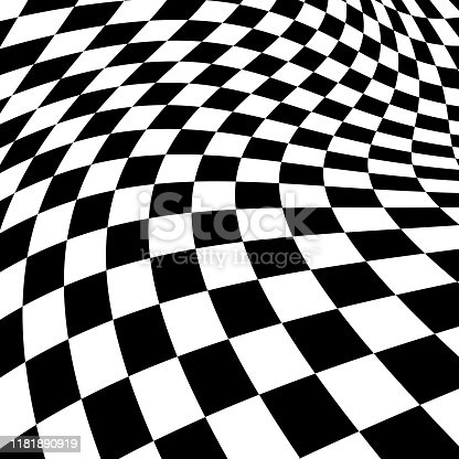 Vector background of twisted black and white squares.