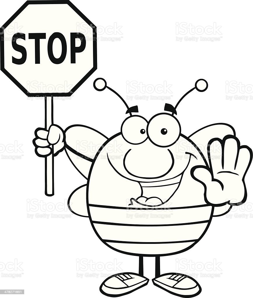 Black and White Pudgy Bee Holding A Stop Sign royalty-free stock vector art