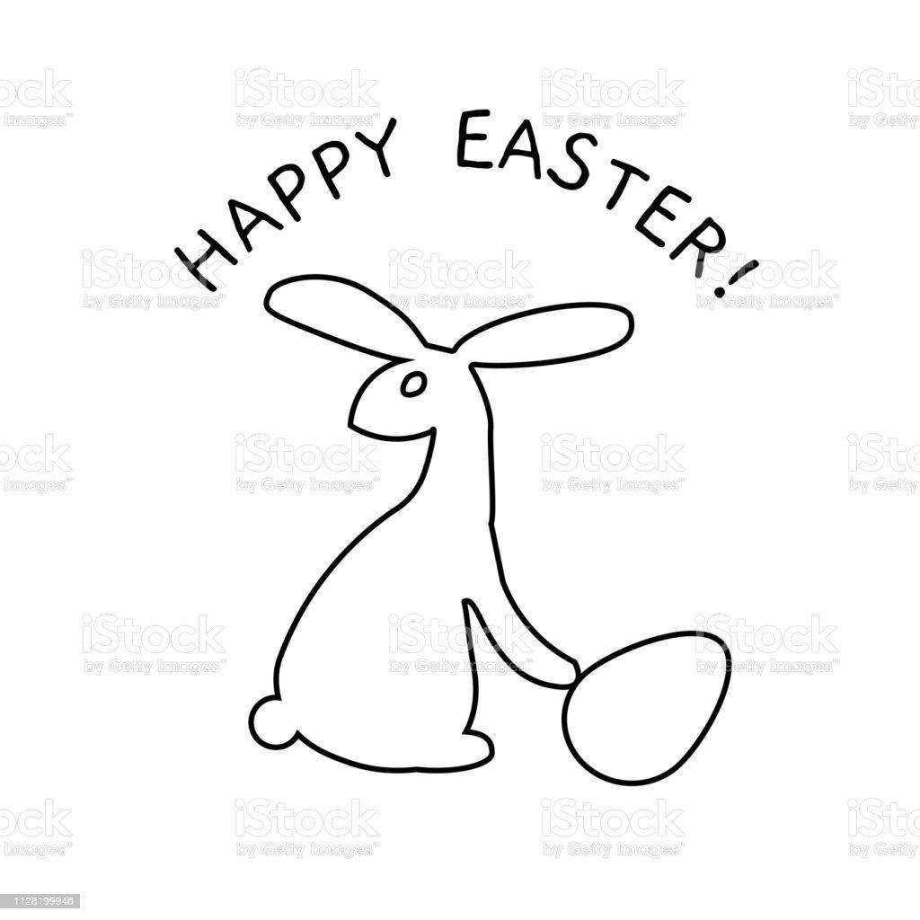 Schwarze Und Weiße Kaninchen Symbol Plakat Malvorlagen Buch Für