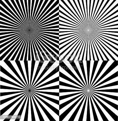 Black And White Ray Star Burst Abstract Background Set Retro Style. Vector illustration of Sunburst Radial Pattern