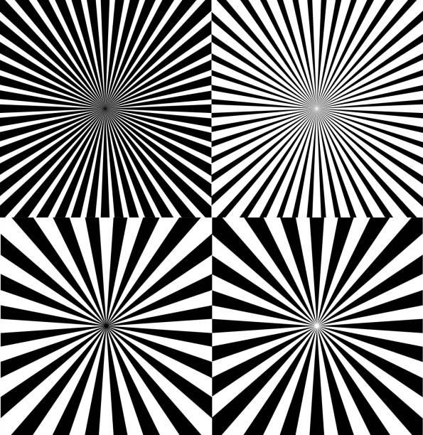 black and white ray star burst background set. vector - blurred motion stock illustrations