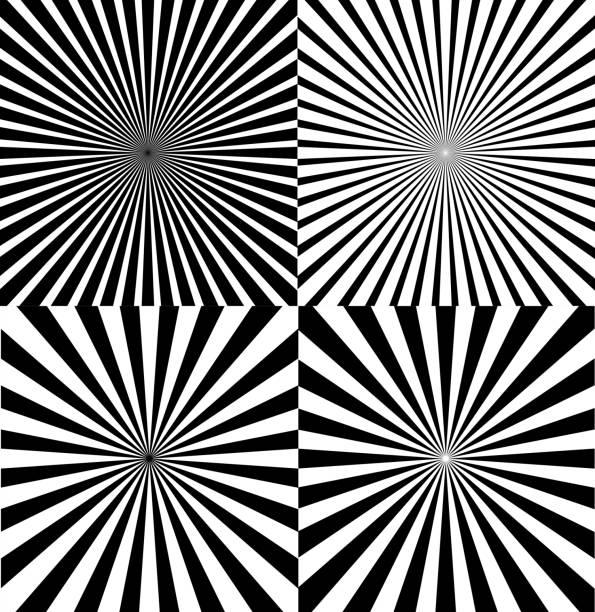 black and white ray star burst background set. vector - rozmazanie ruchu stock illustrations