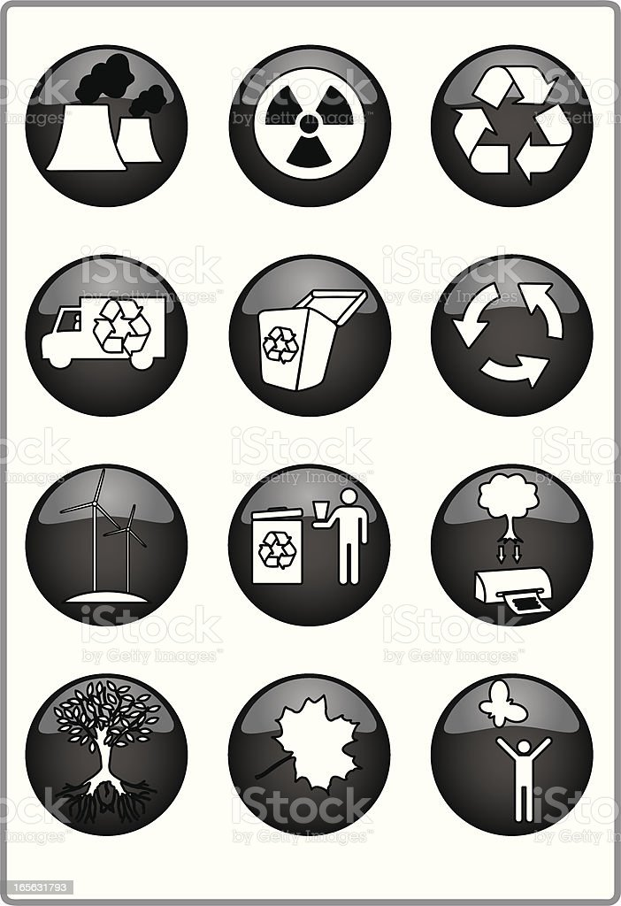 Black and white recycle icons royalty-free stock vector art