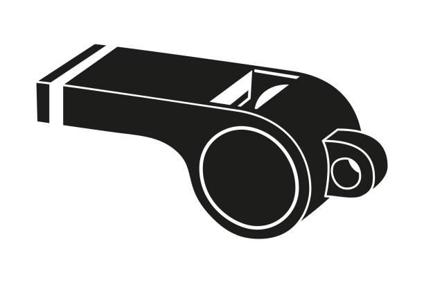illustrazioni stock, clip art, cartoni animati e icone di tendenza di black and white referee whistle silhouette. - fischietto