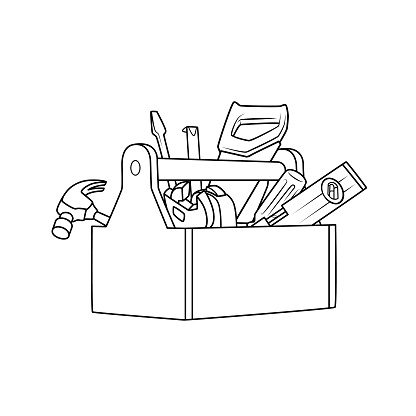 Black and white repair tool picture for coloring cartoons for kids. This is a vector illustration for preschool and home training for parents and teachers.