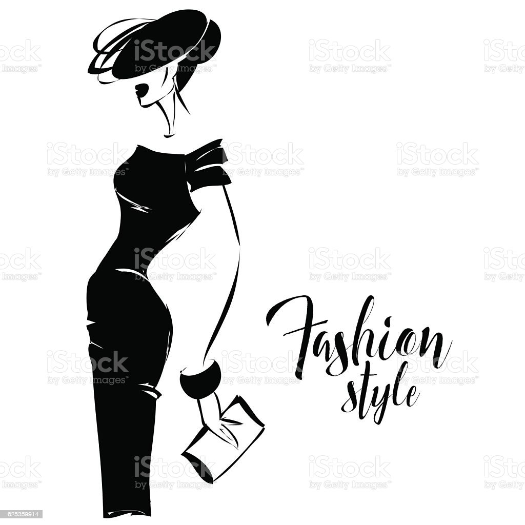 Black And White Retro Fashion Model In Sketch Style Vector