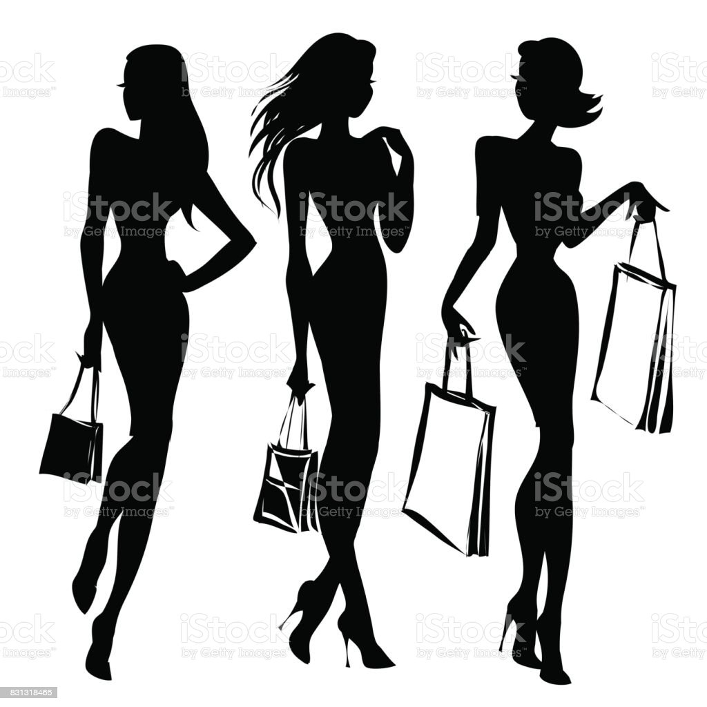 Line Silhouettes In Fashion Design : Black and white retro fashion model silhouette shopping
