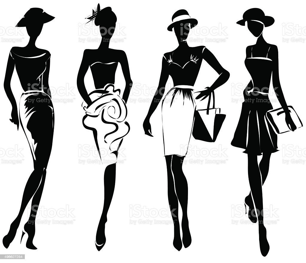 Black And White Retro Fashion Models In Sketch Style Stock Vector Art More Images Of 2015
