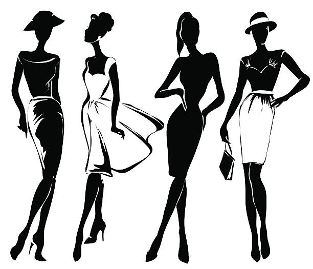 black and white retro fashion models in sketch style - womens fashion stock illustrations, clip art, cartoons, & icons