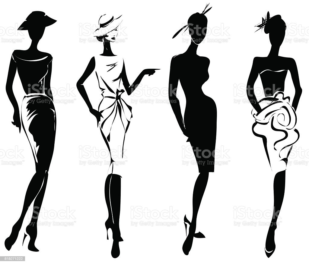 black and white retro fashion models in sketch style stock