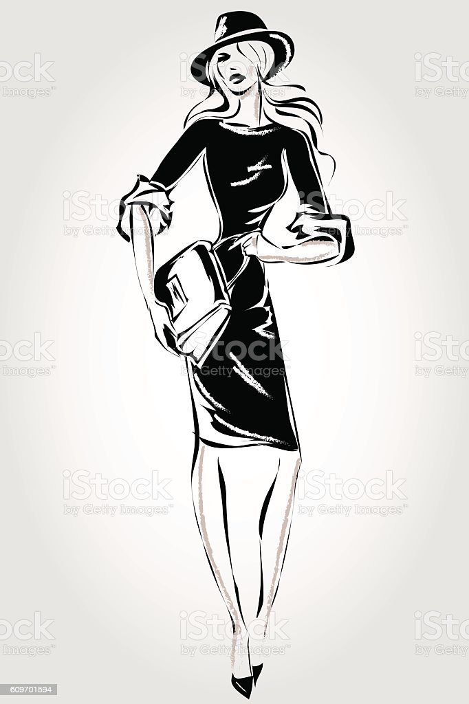 Black and white retro fashion woman model hand drawn vector royalty free black and