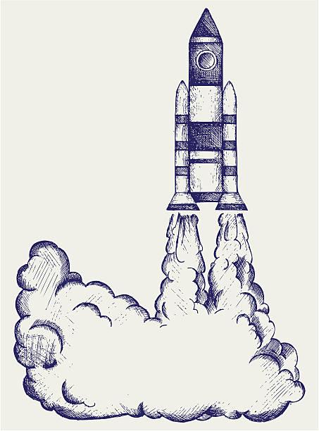 Black and white retro illustration of a rocket taking off vector art illustration