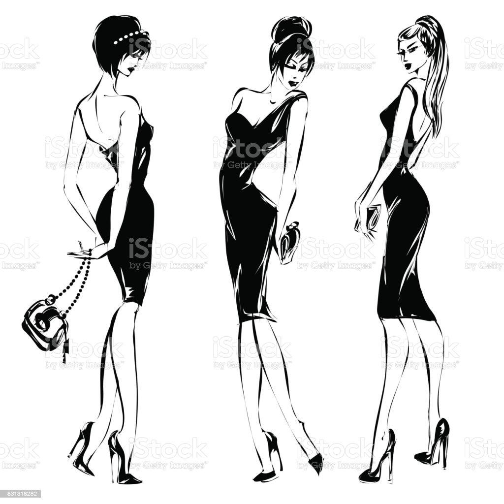 Black And White Retro Set Fashion Models Silhouette Sketch