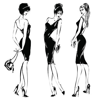 Black And White Retro Set Fashion Models Silhouette Sketch ...
