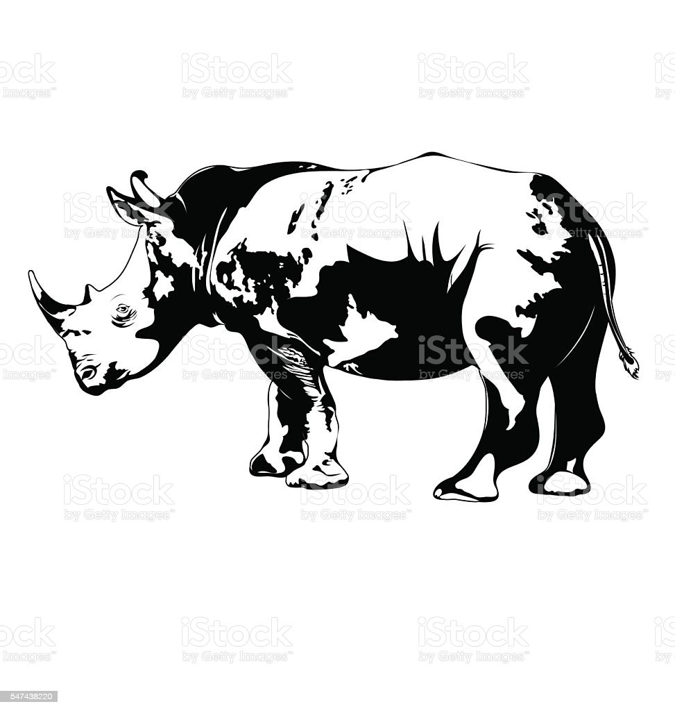 black and white rhino. vector vector art illustration
