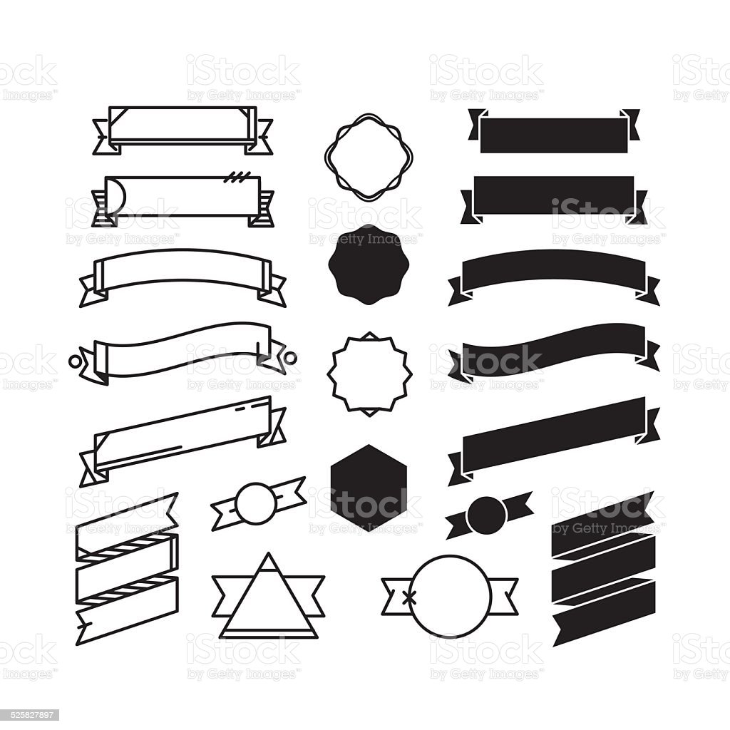 Black and white ribbons vector art illustration