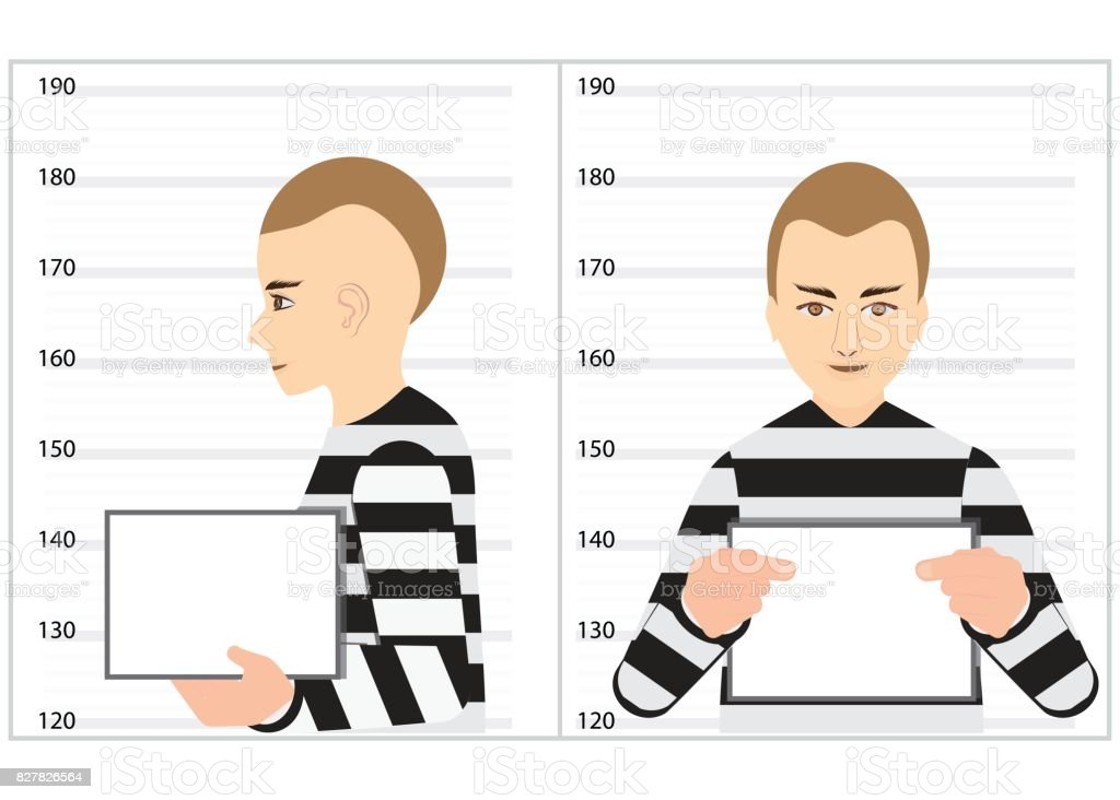 Black and white robber mugshot arrested and standing for police photo. vector art illustration