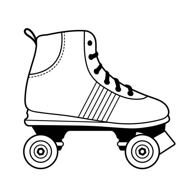 rollschuhlaufen schuh abbildung in schwarz / weiß - rollschuh stock-grafiken, -clipart, -cartoons und -symbole