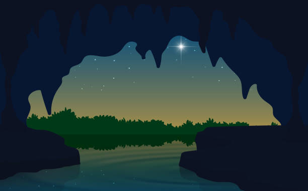 black and white room landscape of cave at the river in the morning adventure backgrounds stock illustrations