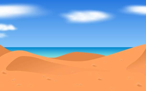 black and white room landscape of the desert on the beach horizon over water stock illustrations