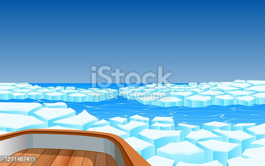 view of wooden boat on glacier