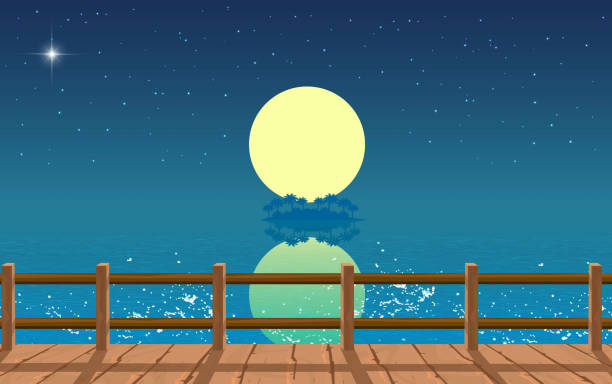 black and white room landscape of wooden bridge on the beach in the night horizon over water stock illustrations
