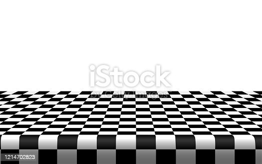 Checkered tablecloth on the table in the white room