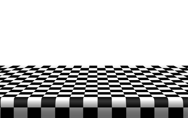 black and white room Checkered tablecloth on the table in the white room cooking black and white stock illustrations