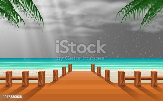 view of wooden bridge on the beach in the rain day