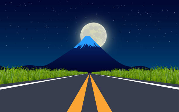 black and white room landscape of road at the meadow in full moon night horizon over water stock illustrations