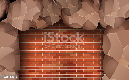 stone waal on the red brick wall