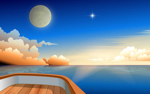 black and white room view of moon and sunrise in the morning in the ocean on wooden boat horizon over water stock illustrations