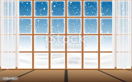 view of snow fall at glass windows in the home in japan