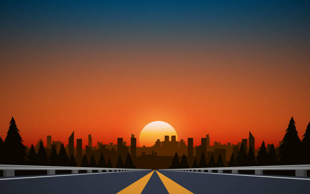 black and white room landscape of road to city in the mountain in sunset idyllic stock illustrations