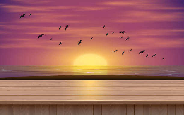 black and white room wooden table on the beach in the morning horizon over water stock illustrations