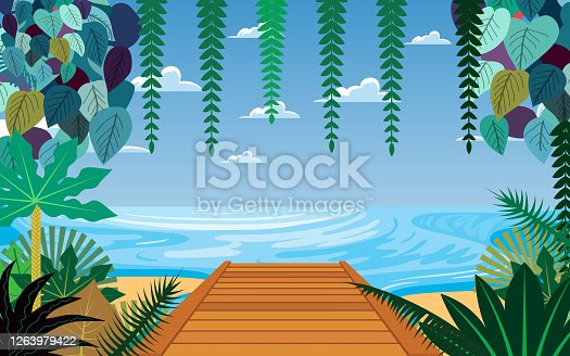 landscape of wooden bridge on the beach in day time