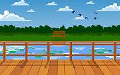 landscape of wooden bridge on the river