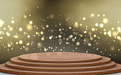 wooden stage with bokeh light and gold smoke in the dark room
