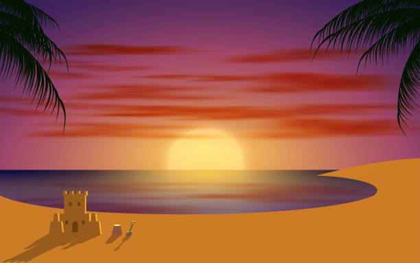 black and white room landscape of the beach in sunset horizon over water stock illustrations