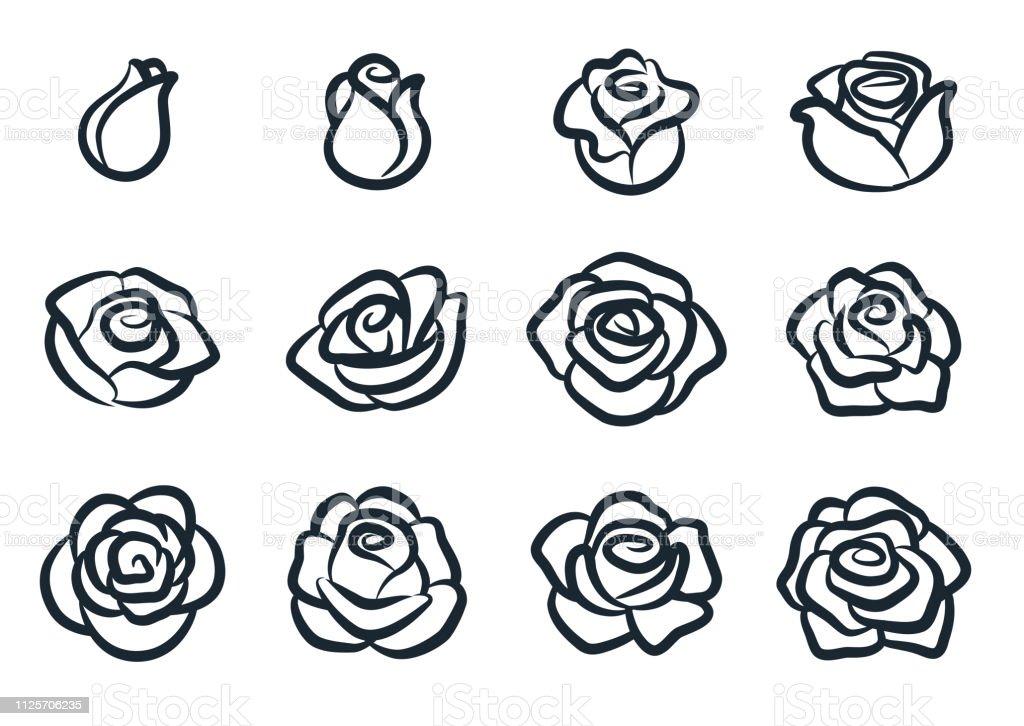 tecknade rosor steg för steg