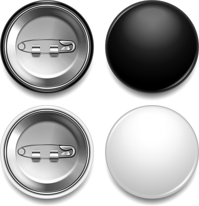 Black and white round badge photo realistic vector set