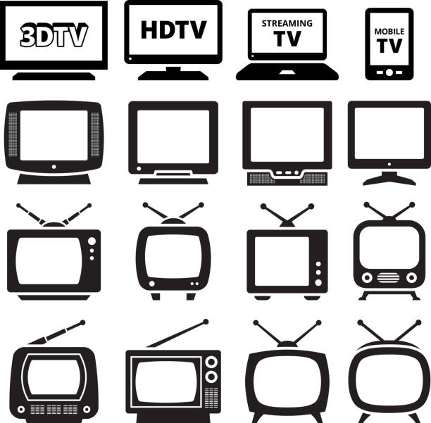 TV black and white royalty free vector icon set TV black and white icon set portable television stock illustrations