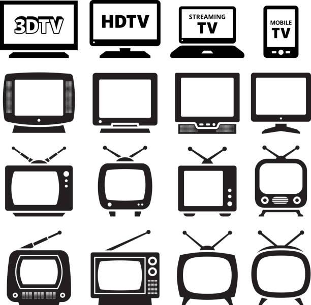 テレビ、ブラックとホワイトのロイヤリティフリーのベクターアイコンセット - テレビ点のイラスト素材/クリップアート素材/マンガ素材/アイコン素材