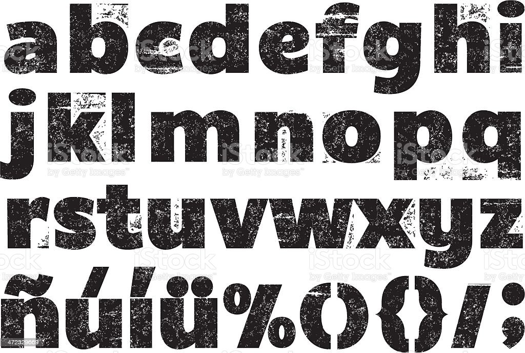 Black and white rubber stamp alphabet vector art illustration