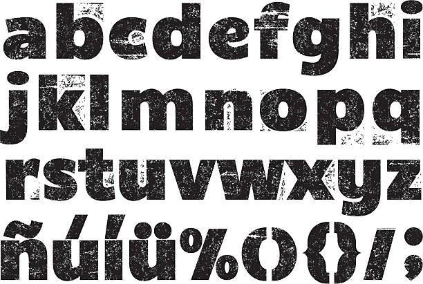 Black and white rubber stamp alphabet vector art illustration