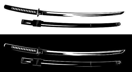 black and white samurai katana sword vector design